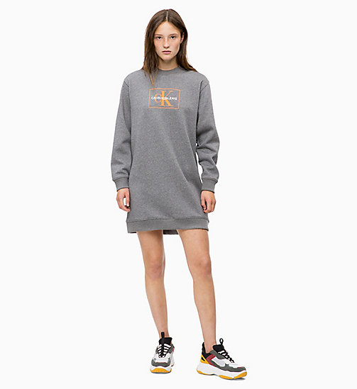 CALVIN KLEIN JEANS Robe sweat-shirt avec logo - MID GREY HEATHER - CALVIN KLEIN JEANS The New Off-Duty - image principale
