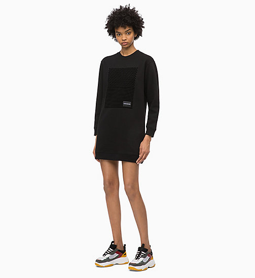 CALVIN KLEIN JEANS Logo Sweatshirt Dress - CK BLACK - CALVIN KLEIN JEANS NEW IN - main image