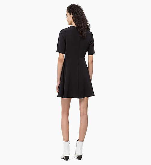 CALVIN KLEIN JEANS Flared Satin Dress - CK BLACK - CALVIN KLEIN JEANS DRESSES - detail image 1