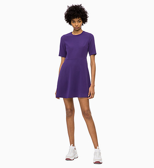 CALVIN KLEIN JEANS Flared Satin Dress - PARACHUTE PURPLE - CALVIN KLEIN JEANS DRESSES - main image