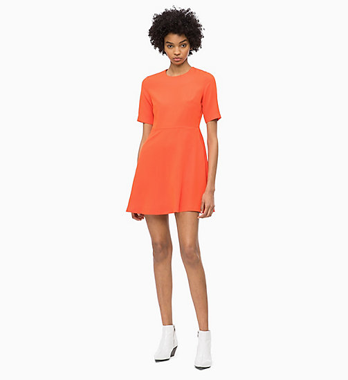 CALVIN KLEIN JEANS Flared Satin Dress - PUMPKIN RED - CALVIN KLEIN JEANS DRESSES - main image