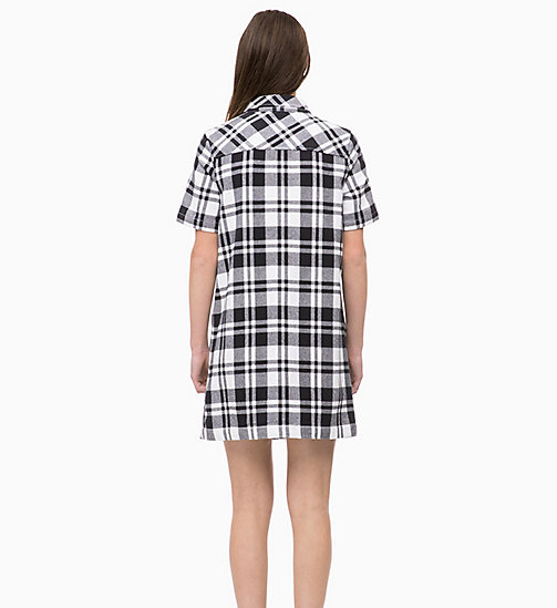 CALVIN KLEIN JEANS Flannel Check Shirt Dress - BRIGHT WHITE/ CK BLACK - CALVIN KLEIN JEANS CLOTHES - detail image 1