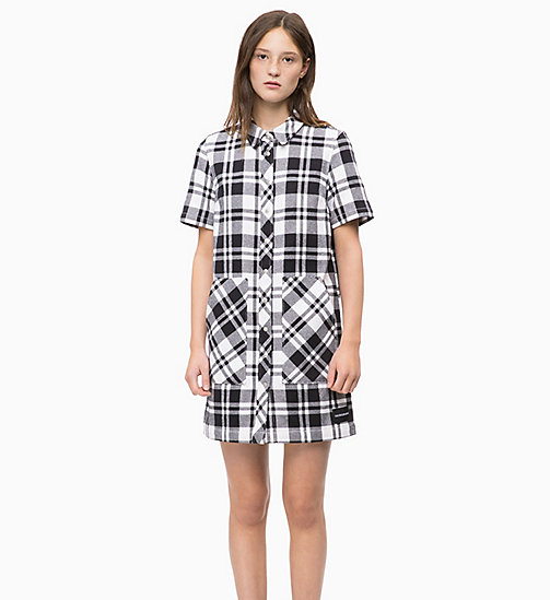 CALVIN KLEIN JEANS Flannel Check Shirt Dress - BRIGHT WHITE / CK BLACK - CALVIN KLEIN JEANS DRESSES - main image