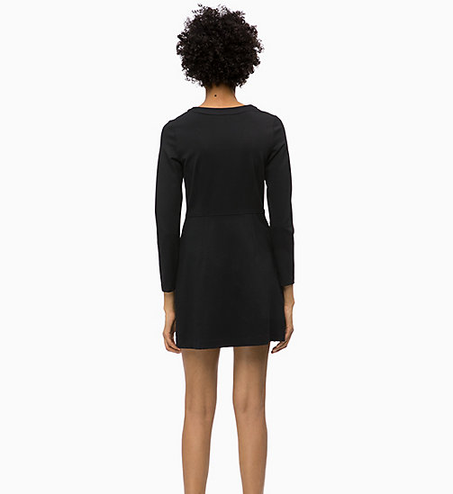CALVIN KLEIN JEANS Milano Jersey Long Sleeve Dress - CK BLACK - CALVIN KLEIN JEANS CLOTHES - detail image 1
