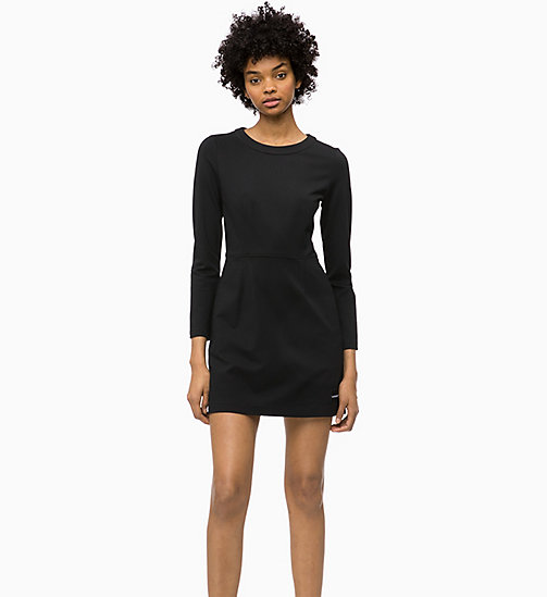 CALVIN KLEIN JEANS Milano Jersey Long Sleeve Dress - CK BLACK - CALVIN KLEIN JEANS DRESSES - main image