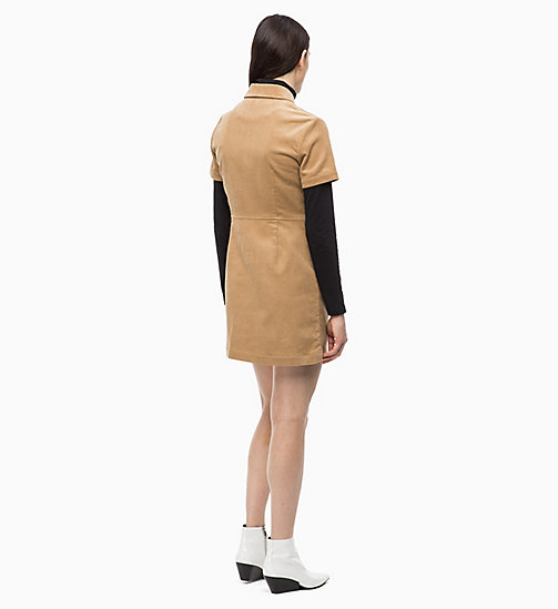 CALVIN KLEIN JEANS Corduroy Zip-Up Dress - TANNIN - CALVIN KLEIN JEANS DRESSES - detail image 1