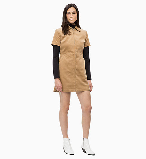 CALVIN KLEIN JEANS Corduroy Zip-Up Dress - TANNIN - CALVIN KLEIN JEANS DRESSES - main image