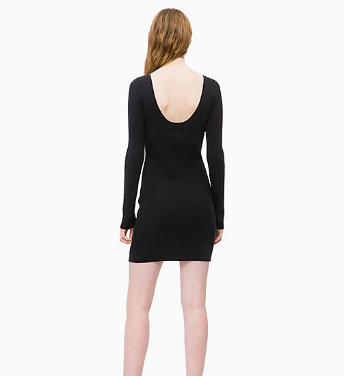 CALVIN KLEIN JEANS Long Sleeve Knit Dress - CK BLACK - CALVIN KLEIN JEANS DRESSES - detail image 1