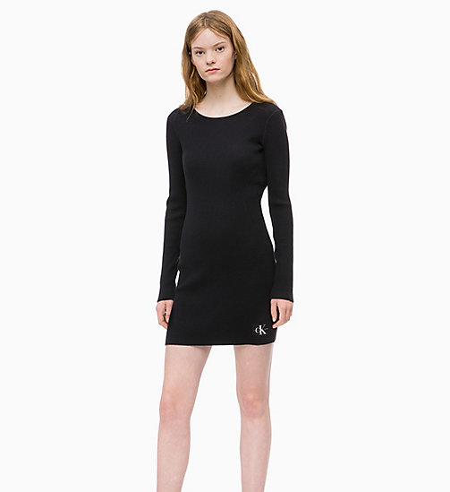 CALVIN KLEIN JEANS Long Sleeve Knit Dress - CK BLACK - CALVIN KLEIN JEANS DRESSES - main image