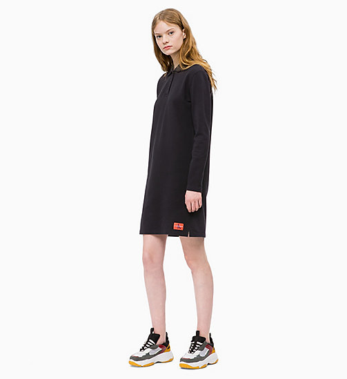 CALVIN KLEIN JEANS Long Sleeve Polo Dress - CK BLACK - CALVIN KLEIN JEANS WOMEN - main image