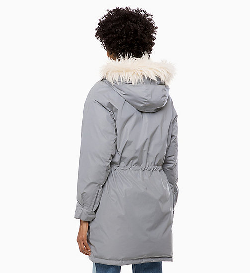 CALVIN KLEIN JEANS Parka imbottito lucido - METALLIC SILVER - CALVIN KLEIN JEANS IN THE THICK OF IT FOR HER - dettaglio immagine 1
