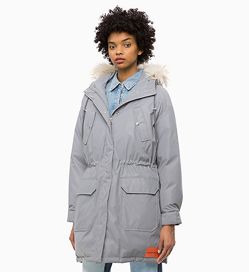 CALVIN KLEIN JEANS Parka imbottito lucido - METALLIC SILVER - CALVIN KLEIN JEANS IN THE THICK OF IT FOR HER - immagine principale