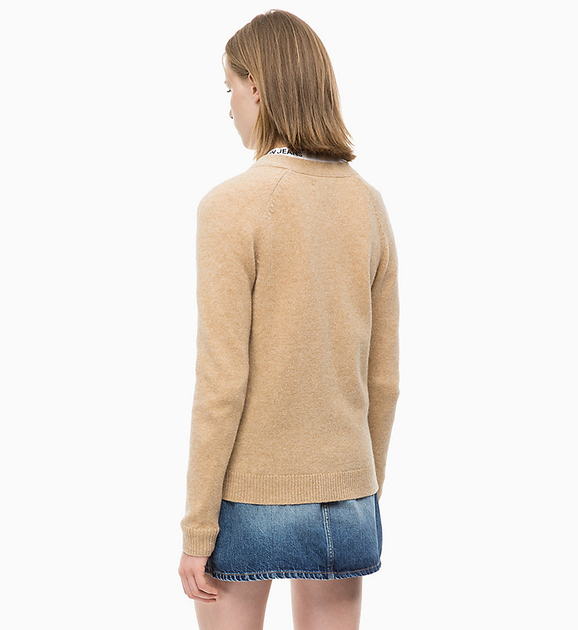 CALVIN KLEIN JEANS Heathered Wool Cardigan - GREY HEATHER - CALVIN KLEIN JEANS WOMEN - detail image 1