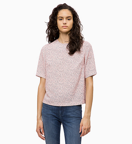 CALVIN KLEIN JEANS Relaxed Floral Top - MINI FLOWER CHINTZ ROSE - CALVIN KLEIN JEANS TOPS - main image