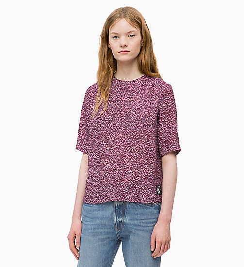 CALVIN KLEIN JEANS Relaxed Floral Top - MINI FLOWER TAWNY PORT - CALVIN KLEIN JEANS TOPS - main image