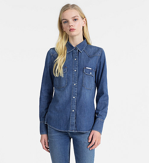 CALVIN KLEIN JEANS Western Denim Shirt - BARCELONA BLUE - CALVIN KLEIN JEANS NEW IN - main image
