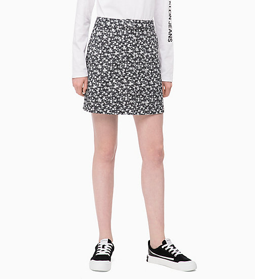 CALVIN KLEIN JEANS Floral Mini Skirt - DITSY FLOWER 2 BLACK / WHITE - CALVIN KLEIN JEANS FALL DREAMS - main image