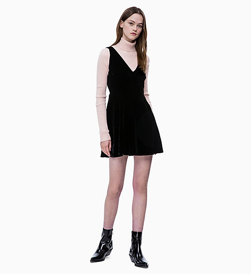 CALVIN KLEIN JEANS Flared Velvet Dress - CK BLACK - CALVIN KLEIN JEANS DRESSES - main image