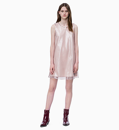CALVIN KLEIN JEANS Organza Double Layer Dress - OATMEAL / CHINTZ ROSE - CALVIN KLEIN JEANS DRESSES - main image