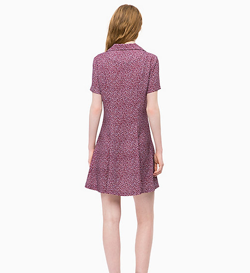 CALVIN KLEIN JEANS Short Sleeve Floral Dress - MINI FLOWER TAWNY PORT - CALVIN KLEIN JEANS CLOTHES - detail image 1