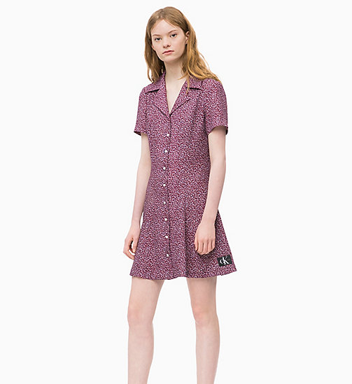 CALVIN KLEIN JEANS Short Sleeve Floral Dress - MINI FLOWER TAWNY PORT - CALVIN KLEIN JEANS DRESSES - main image