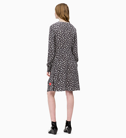 CALVIN KLEIN JEANS Long Sleeve Floral Dress - DITSY FLOWER 2 BLACK / WHITE - CALVIN KLEIN JEANS DRESSES - detail image 1