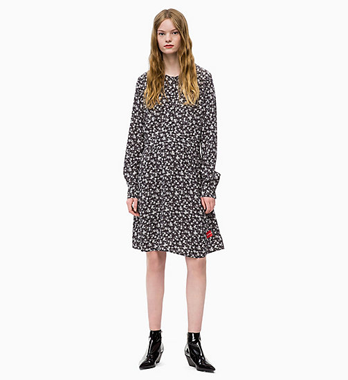 CALVIN KLEIN JEANS Long Sleeve Floral Dress - DITSY FLOWER 2 BLACK / WHITE - CALVIN KLEIN JEANS DRESSES - main image