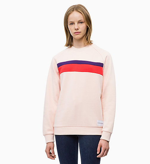CALVIN KLEIN JEANS Panelled Stripe Sweatshirt - CHINTZ ROSE - CALVIN KLEIN JEANS NEW IN - main image