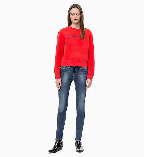 CALVIN KLEIN JEANS Fleece-Sweatshirt mit Logo - TOMATO - CALVIN KLEIN JEANS IN THE THICK OF IT FOR HER - main image 1