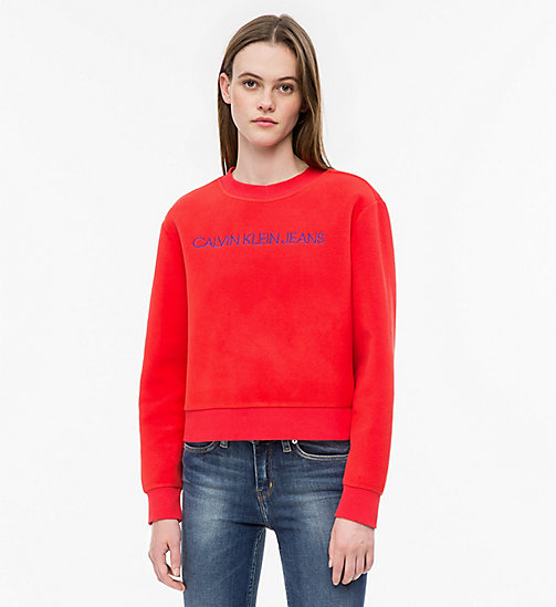 CALVIN KLEIN JEANS Fleece-Sweatshirt mit Logo - TOMATO - CALVIN KLEIN JEANS IN THE THICK OF IT FOR HER - main image
