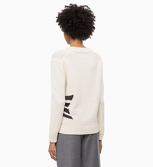 CALVIN KLEIN JEANS Wool Blend V-Neck Jumper - EGRET - CALVIN KLEIN JEANS NEW IN - detail image 1