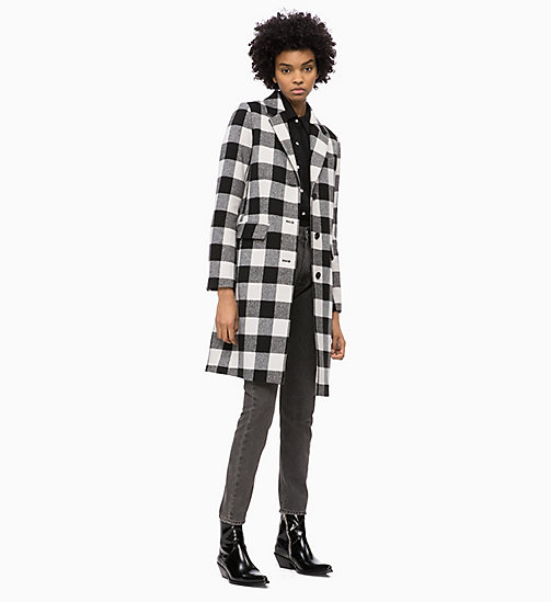 CALVIN KLEIN JEANS Wool Blend Check Coat - BLACK / WHITE - CALVIN KLEIN JEANS CLOTHES - detail image 1