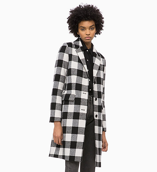 CALVIN KLEIN JEANS Wool Blend Check Coat - BLACK / WHITE - CALVIN KLEIN JEANS CLOTHES - main image