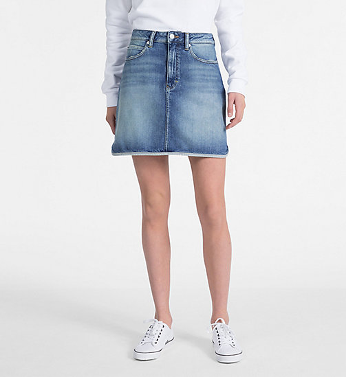 CALVIN KLEIN JEANS High Rise Denim Mini Skirt - SYRACUSE BLUE - CALVIN KLEIN JEANS SKIRTS - main image