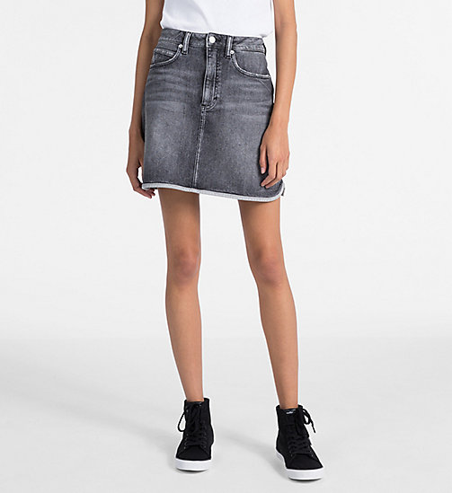 CALVIN KLEIN JEANS High Rise Denim Mini Skirt - ALCAMO BLACK - CALVIN KLEIN JEANS SKIRTS - main image