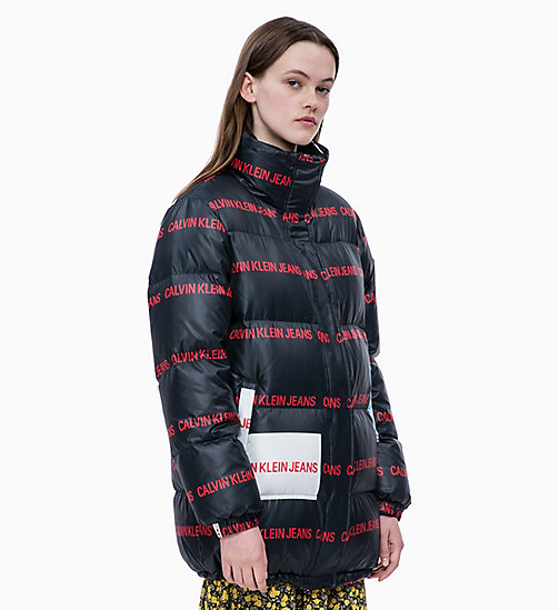 CALVIN KLEIN JEANS Multi Logo Down Puffer Jacket - CK BLACK/ LOGO AOP - CALVIN KLEIN JEANS IN THE THICK OF IT FOR HER - main image