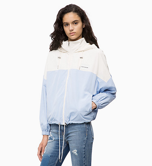 CALVIN KLEIN JEANS Hooded Zip-Up Jacket - CHAMBRAY BLUE / EGRET - CALVIN KLEIN JEANS JACKETS - main image