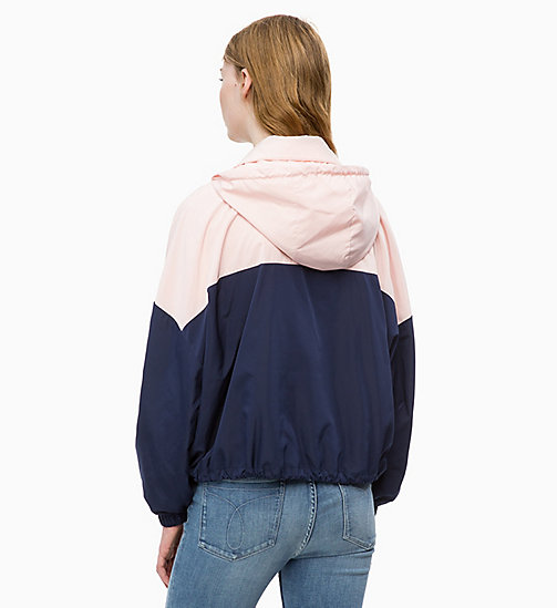 CALVIN KLEIN JEANS Hooded Zip-Up Jacket - PEACOAT / CHINTZ ROSE - CALVIN KLEIN JEANS JACKETS - detail image 1