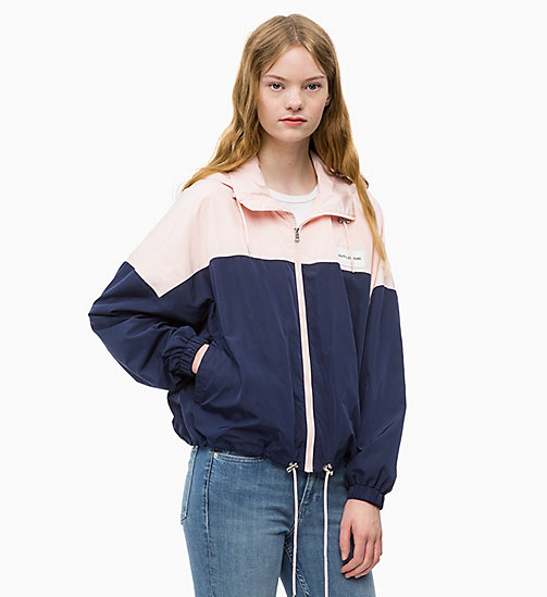 CALVIN KLEIN JEANS Hooded Zip-Up Jacket - PEACOAT / CHINTZ ROSE - CALVIN KLEIN JEANS JACKETS - main image