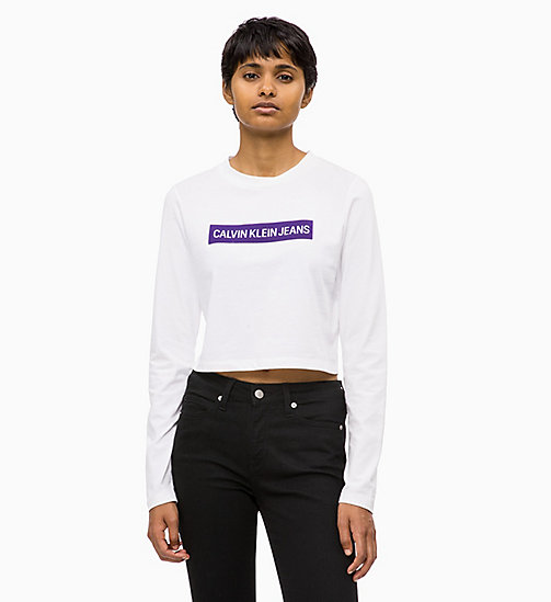 CALVIN KLEIN JEANS Cropped Logo T-shirt - BRIGHT WHITE / PARACHUTE PURPLE - CALVIN KLEIN JEANS ALL GIFTS - main image