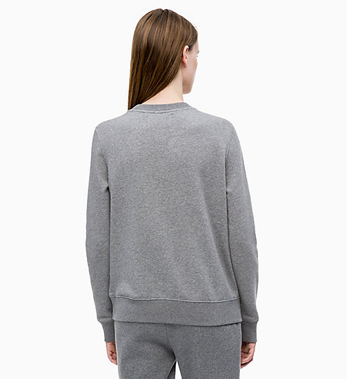 CALVIN KLEIN JEANS Flock Logo Sweatshirt - MID GREY HEATHER - CALVIN KLEIN JEANS NEW IN - detail image 1