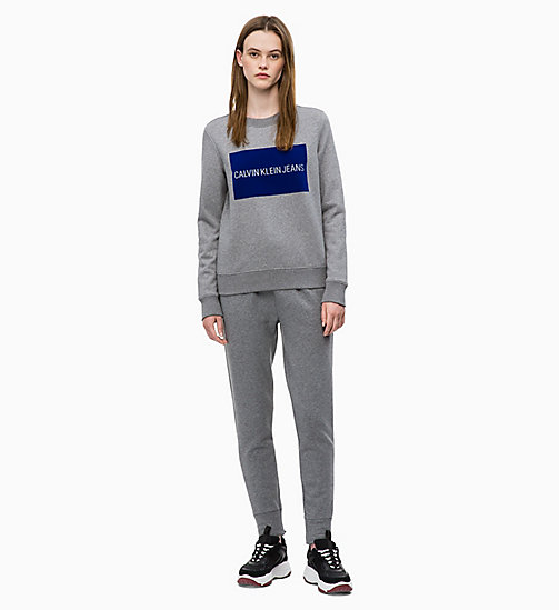 CALVIN KLEIN JEANS Flocked Logo-Sweatshirt - MID GREY HEATHER - CALVIN KLEIN JEANS DAMEN - main image 1