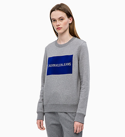 CALVIN KLEIN JEANS Flock Logo Sweatshirt - MID GREY HEATHER - CALVIN KLEIN JEANS NEW IN - main image