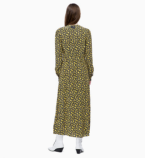 CALVIN KLEIN JEANS Long Sleeve Floral Maxi Dress - DITSY FLOWER 2 BLACK/SUPER LEMON - CALVIN KLEIN JEANS FALL DREAMS - detail image 1