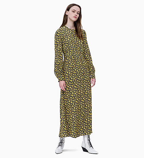 CALVIN KLEIN JEANS Long Sleeve Floral Maxi Dress - DITSY FLOWER 2 BLACK/SUPER LEMON - CALVIN KLEIN JEANS FALL DREAMS - main image