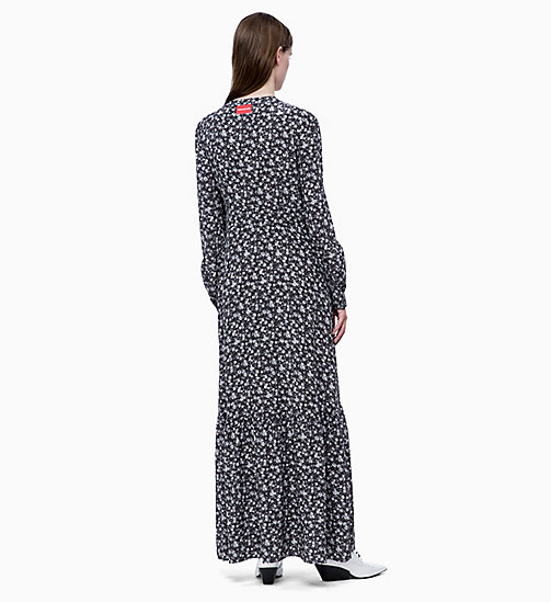 CALVIN KLEIN JEANS Long Sleeve Floral Maxi Dress - DITSY FLOWER 2 BLACK / WHITE - CALVIN KLEIN JEANS FALL DREAMS - detail image 1