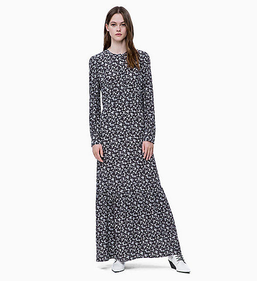CALVIN KLEIN JEANS Long Sleeve Floral Maxi Dress - DITSY FLOWER 2 BLACK / WHITE - CALVIN KLEIN JEANS FALL DREAMS - main image