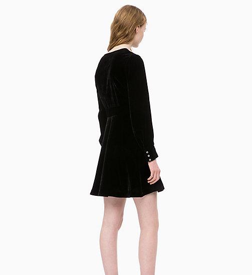 CALVIN KLEIN JEANS Velvet Puff Sleeve Dress - CK BLACK -  NEW IN - detail image 1