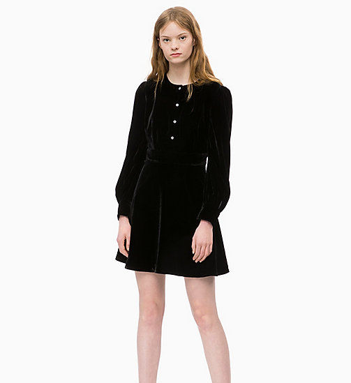 CALVIN KLEIN JEANS Velvet Puff Sleeve Dress - CK BLACK - CALVIN KLEIN JEANS WOMEN - main image