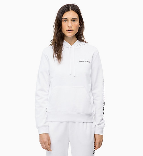 CALVIN KLEIN JEANS Logo Hoodie - BRIGHT WHITE - CALVIN KLEIN JEANS IN THE THICK OF IT FOR HER - main image